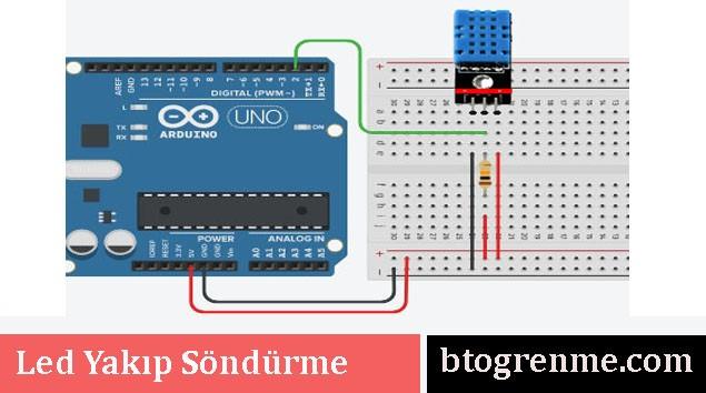 DHT 11 Sıcaklık ve NEm Sensörü Şeması